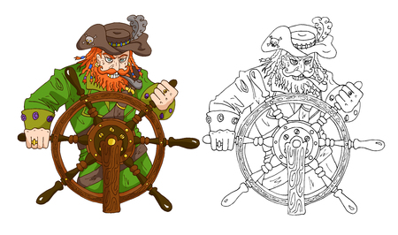 Pirate captain with red beard standing behind steering wheel vector