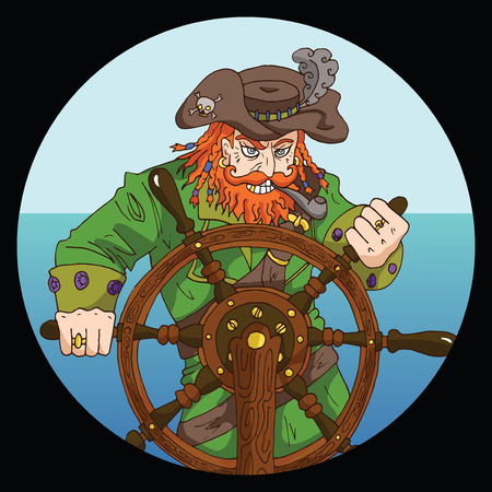 Round emblem with red beard pirate captain standing behind steering wheel on sea background, hand drawn illustration