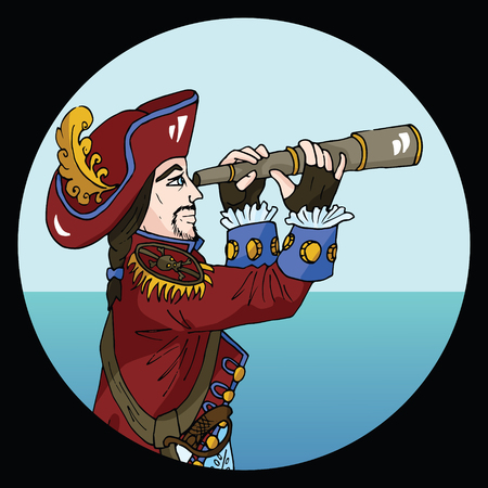 Round emblem with pirate captain wearing red hat and camisole on sea background, hand drawn illustration