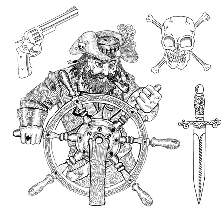 skull with crossed bones: Pirate captain behind steering wheel, pirate knife, gun and skull with crossed bones isolated, engraved illustration with hand drawn design elements Illustration