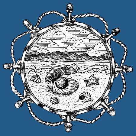 Mariene symbool met zee landschap in stuurwiel, gegraveerde hand getrokken illustratie