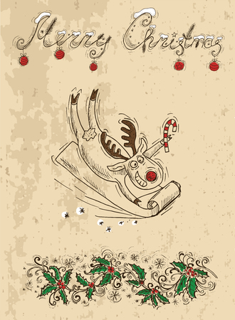 winterberry: Christmas card with deer holding cane, vintage illustration with hand drawn elements