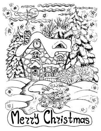 conifers: Black and white Christmas card with a house and conifers in snow, hand drawn illustration Illustration