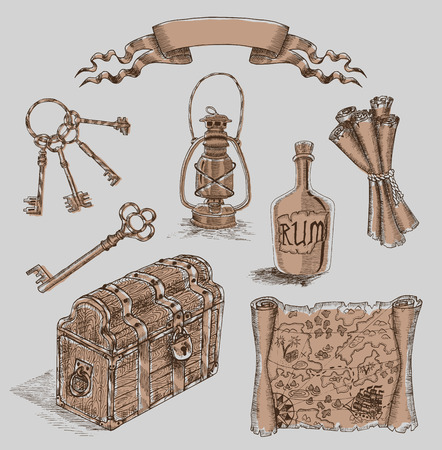 old lamp: Design set with engraved pirate objects: trunk, pirate map, old lamp, keys. Hand drawn illustration Illustration