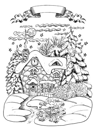 conifers: Silhouette of Christmas house in the night with snow and conifers, hand drawn illustration