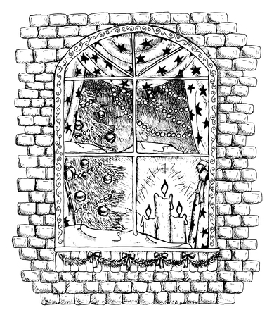 Window of Christmas house with decorations, brick wall with window, new year tree and candles, hand drawn black and white illustration