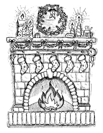 mantel: Illustration of fireplace with socks and Christmas decorations, hand drawn chimney with candles