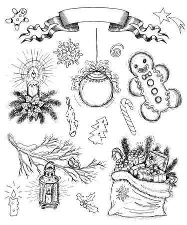 Vintage Set With Hand Drawn Christmas And New Year Objects Banner Black White