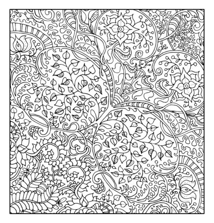 abstract doodle: Fantastic graphic background with floral pattern for adult coloring book.  Vector vintage ornament elements. Abstract hand drawn doodle illustration
