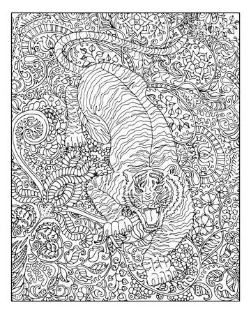 大人の塗り絵の花柄背景に描かれた虎を手します。中国の旧正月の星座、星座と干支ベクトル シンボル、グラフィックの線形図、刻まれたヴィンテ