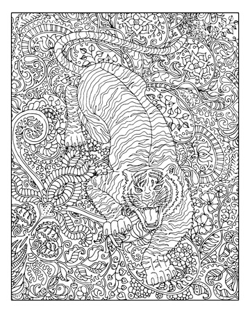 Hand drawn tiger against floral pattern background for adult coloring book. Chinese new year astrological sign, horoscope and zodiac vector symbol, graphic linear illustration, vintage engraved style