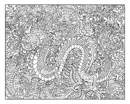 Hand drawn dragon against zen floral pattern background for adult coloring book. Chinese new year astrological sign, horoscope and zodiac vector symbol, graphic illustration, vintage engraved style Illustration