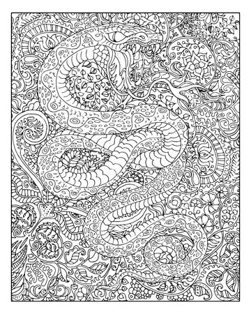 Hand drawn snake against zen floral pattern background for adult coloring book. Chinese new year astrological sign, horoscope and zodiac vector symbol, graphic illustration, vintage engraved style