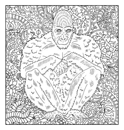 Hand drawn monkey against zen floral pattern background for adult coloring book. Chinese new year astrological sign, horoscope and zodiac vector symbol, graphic illustration, vintage engraved style