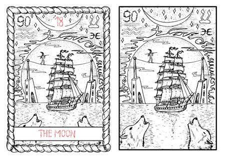 달. 주요 arcana 타로 카드, 빈티지 손 신비한 기호로 그려진 된 그림을 그려. 오래 된 항해 선박, 평형, 타워 및 거 대 한 달에 크롤 링하는 두 늑대.