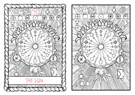 太陽。大アルカナのタロット カード ヴィンテージ手描きには、神秘的な記号と図が刻まれています。
