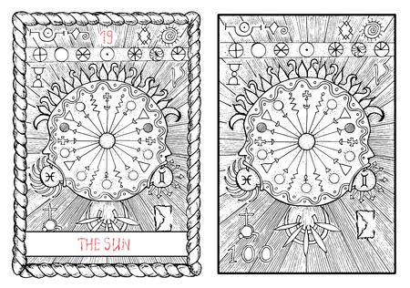 Le soleil. La principale carte de tarot arcana, main cru illustration tirée gravé avec des symboles mystiques.