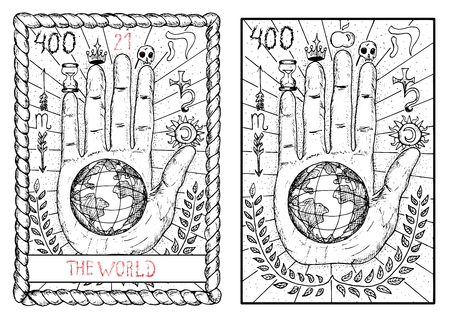 The world. The major arcana tarot card, vintage hand drawn engraved illustration with mystic symbols. Concept image with human hand or palm with earth planet in the middle 向量圖像