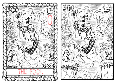 The fool. The major arcana tarot card, vintage hand drawn engraved illustration with mystic symbols. Man in costume of harlequin jumping through abyss. Joker and cat. Illustration