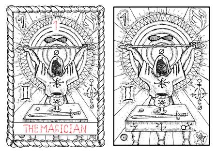 魔術師。大アルカナのタロット カード ヴィンテージ手描きには、神秘的な記号と図が刻まれています。男はマントルと持株魔法の杖を身に着けています。剣、カップ、テーブルの上のコイン。 写真素材 - 62159980