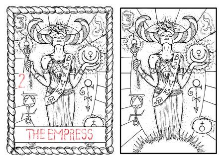 皇后。大アルカナのタロット カード ヴィンテージ手描きには、神秘的な記号と図が刻まれています。美しい女性や女王持株装飾杖と月 写真素材 - 62159981