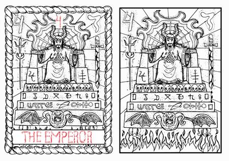 De keizer. De Grote Arcana tarot, getrokken vintage hand gegraveerde illustratie met mystieke symbolen. Man in kroon of king zittend op eng troon versierd met schedels en demonen