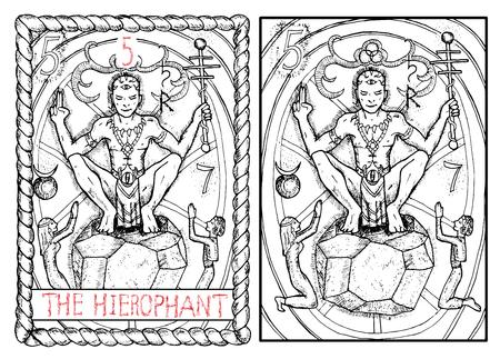 Der Hierophant. Die großen Arkana Tarot-Karte, graviert Illustration Vintage Hand mit mystischen Symbolen gezeichnet. Priester oder Magier sitzt auf Stein und Haltestab. Mann und Frau zu beten. Standard-Bild - 62159984