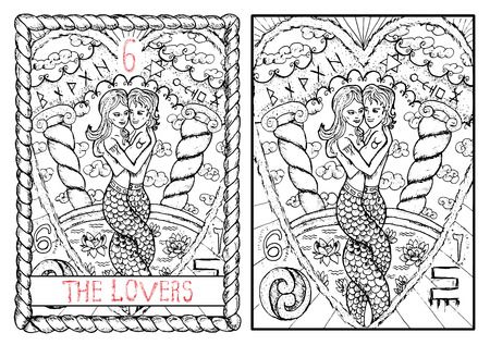 The lovers. The major arcana tarot card, vintage hand drawn engraved illustration with mystic symbols. Mermaid girl and boy in love hugging each other against background of clouds and pull with lotus