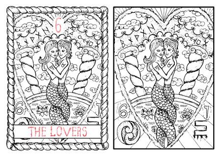 Los amantes. La principal arcano del tarot, dibujado mano Vintage ilustración grabada con símbolos místicos. niña y niño de la sirena en el amor que se abrazan contra el fondo de nubes y tire con loto Foto de archivo - 62159985