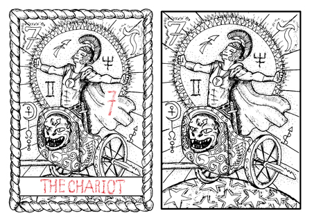 prophetic: The chariot. The major arcana tarot card, vintage hand drawn engraved illustration with mystic symbols. Warrior or conqueror wearing costume of roman soldier celebrating the victory
