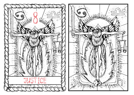 Justitie. De Grote Arcana tarot, getrokken vintage hand gegraveerde illustratie met mystieke symbolen. Vrouw met zwaard en een weegschaal en staande op de menselijke schedel tegen brand achtergrond.