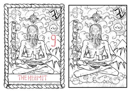 仙人。大アルカナのタロット カード ヴィンテージ手描きには、神秘的な記号と図が刻まれています。山背景にロータス ヨガのポーズでクラウド上