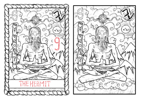 The hermit. The major arcana tarot card, vintage hand drawn engraved illustration with mystic symbols. Old man sitting on cloud in lotus yoga pose against mountain background