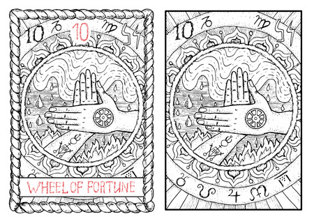 運命の輪。大アルカナのタロット カード ヴィンテージ手描きには、神秘的な記号と図が刻まれています。水と火の背景の 2 つの交差させた手