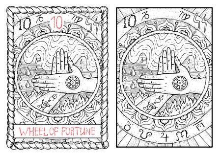 Rad van Fortuin. De Grote Arcana tarot, getrokken vintage hand gegraveerde illustratie met mystieke symbolen. Twee gekruiste handen tegen water en vuur achtergrond