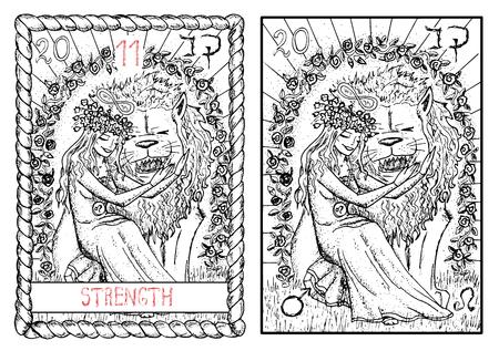 強度。大アルカナのタロット カード ヴィンテージ手描きには、神秘的な記号と図が刻まれています。美しい少女が怖いライオンをなでます。美女と