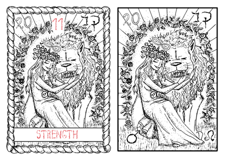 Strength. The major arcana tarot card, vintage hand drawn engraved illustration with mystic symbols. Beautiful young girl stroking scary lion. Beauty and beast.