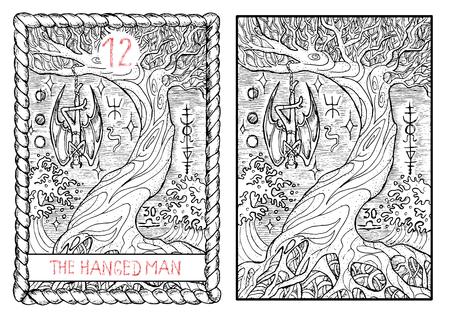 매달린 남자. 주요 아케 타로 카드, 빈티지 손 신비한 기호로 새겨진 그림을 그려. 뱀파이어 드라큘라 또는 악마는 오래 된 나무에 매달려.