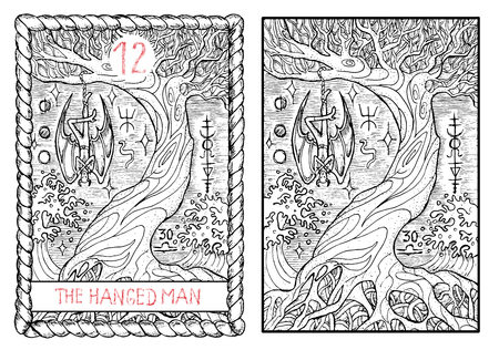 The hanged man. The major arcana tarot card, vintage hand drawn engraved illustration with mystic symbols. Vampire Dracula or demon hanging on the old tree. Vettoriali