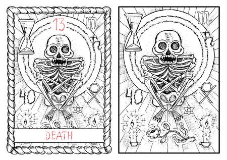 死。大アルカナのタロット カード ヴィンテージ手描きには、神秘的な記号と図が刻まれています。キャンドルと花怖い人間の骨格 写真素材 - 62159992