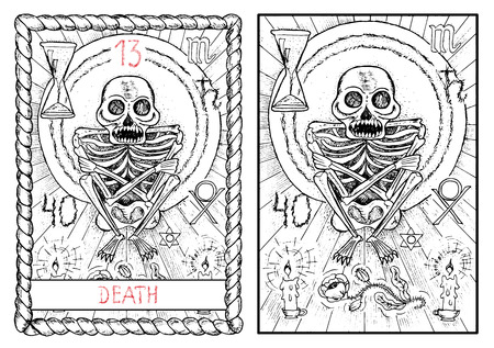 Death. The major arcana tarot card, vintage hand drawn engraved illustration with mystic symbols. Scary human skeleton with candles and flower