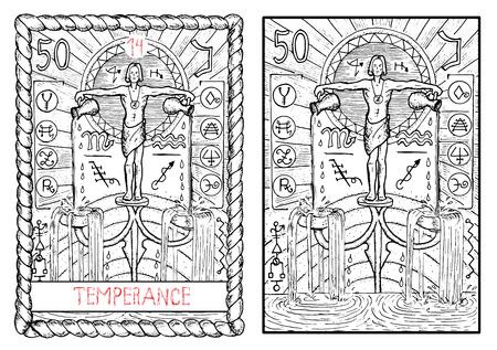 禁酒。大アルカナのタロット カード ヴィンテージ手描きには、神秘的な記号と図が刻まれています。水持参人または 2 つの壺から水を注ぐ青年。水