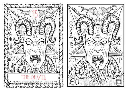 悪魔。大アルカナのタロット カード ヴィンテージ手描きには、神秘的な記号と図が刻まれています。角と牙五芒星の背景に怖い鬼の顔。ハロウィーン イメージ 写真素材 - 62159996