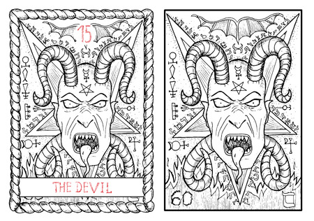 pentacle: The devil. The major arcana tarot card, vintage hand drawn engraved illustration with mystic symbols. Scary demon face with horns and fangs against pentagram background. Halloween image