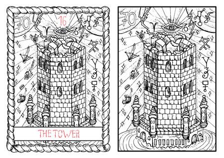 塔。大アルカナのタロット カード ヴィンテージ手描きには、神秘的な記号と図が刻まれています。人が屋根から落ちると要塞を破壊しました。 写真素材 - 62159994