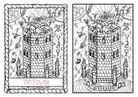 The tower. The major arcana tarot card, vintage hand drawn engraved illustration with mystic symbols. Destroyed fortress with people falling from the roof.