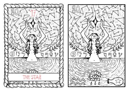 つ星。大アルカナのタロット カード ヴィンテージ手描きには、神秘的な記号と図が刻まれています。若い女性に池で泳いで、星を見て 写真素材 - 62159995