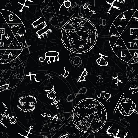 シームレスな背景に魔法のシンボル、黒の円。ベクター イラストを使用した手描き下ろし要素  イラスト・ベクター素材