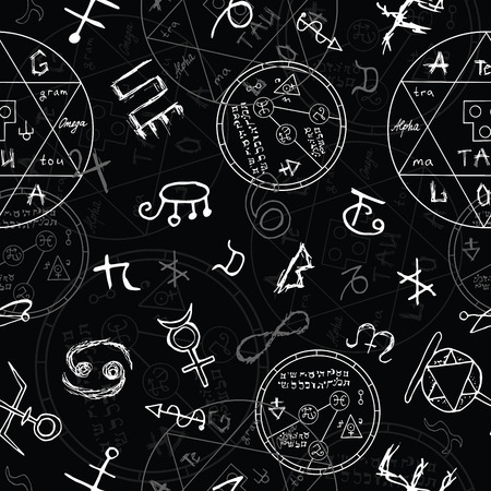 Seamless background with magic symbols and circles on black. Vector illustration with hand drawn elements Vettoriali