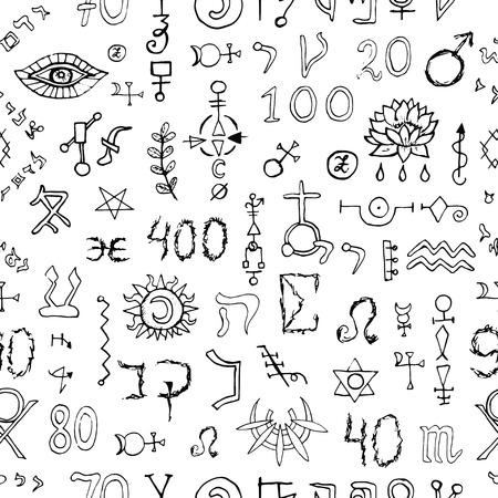 alchemist: Seamless background with mystic symbols on white. Hand drawn vector illustration.
